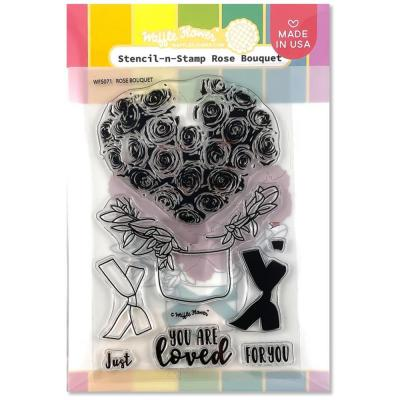 Waffle Flower Stencil-N-Stamp - Rose Bouque