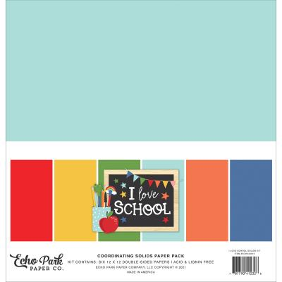 Echo Park I Love School Cardstock - Solids Kit