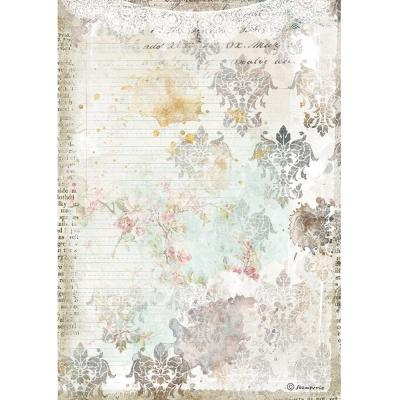 Stamperia Romantic Journal Reispapier - Texture With Lace