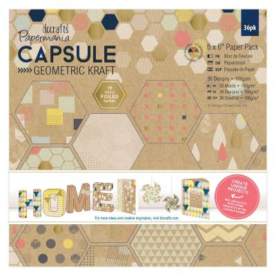 Capsule Collection - Geometric Kraft - Paperblock, 36 Blatt, 6x6''
