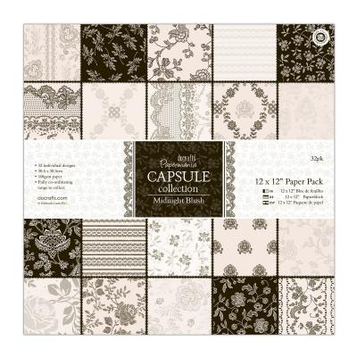 Capsule Collection - Midnight Blush - Papierblock, 32 Blatt, 12x12''
