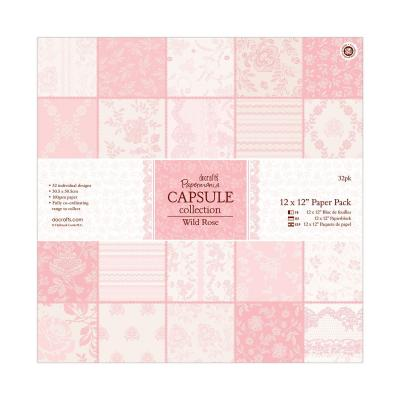 Capsule Collection - Wild Rose - Papierblock, 32 Blatt, 12x12''
