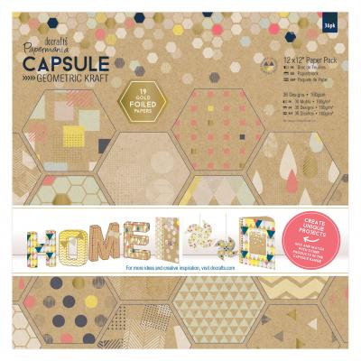 Capsule Collection - Geometric Kraft - Paperblock, 36 Blatt, 12x12''