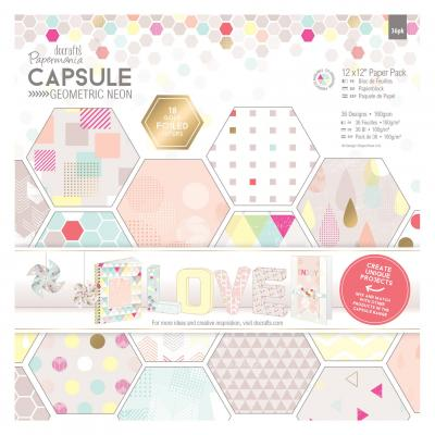 Capsule Collection - Geometric Neon - Paperblock, 36 Blatt, 12x12''