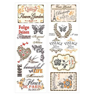 Vintage - 2-teiliges Set Wassertransfers