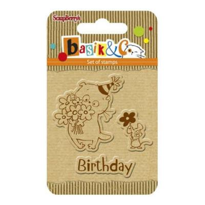 ScrapBerry's Set Of Clear Rubber Stamps 7x7 cm Basik & Co Birthday