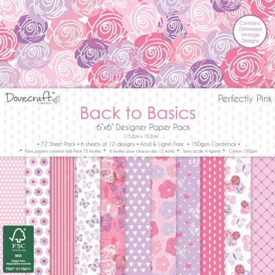 Back to Basics - Perfectly Pink - 6x6'' Papierblock, 72 Blatt
