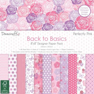 Back to Basics - Perfectly Pink - 8x8'' Papierblock, 48 Blatt