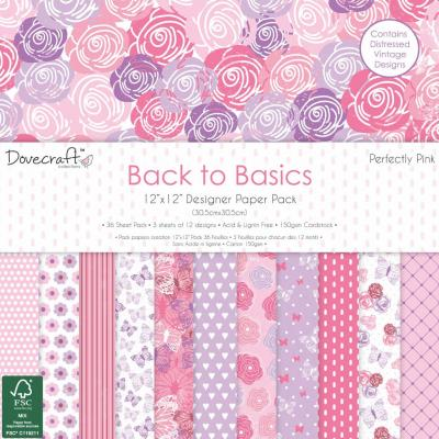 Back to Basics - Perfectly Pink - 12x12'' Papierblock, 36 Blatt