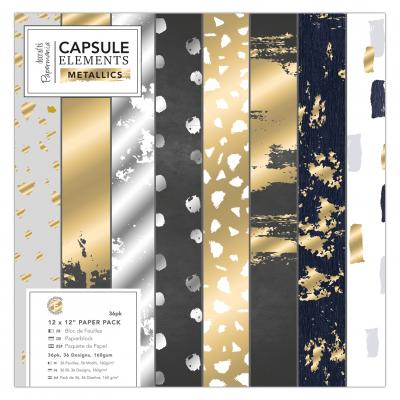 Capsule Collection - Elements Metallic - Papierblock, 36 Blatt, 12x12''