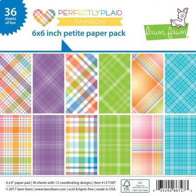 Lawn Fawn Paper Pad Perfectly Plaid Rainbow