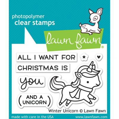 Lawn Fawn Stempelset Winter Unicorn