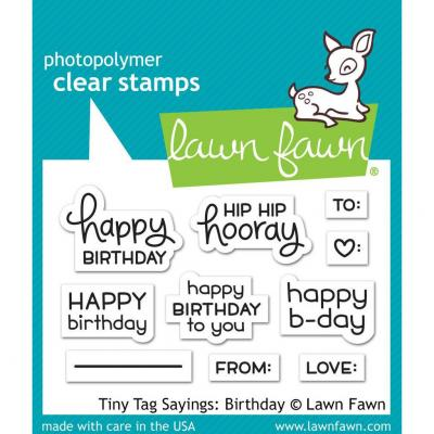 Lawn Fawn Clear Stamps - Tiny Tag Sayings: Birthday