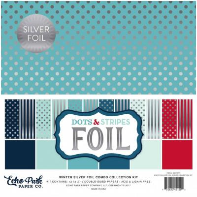 Echo Park Winter Dots & Stripes Silber foliert 12 x 12