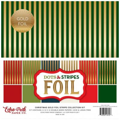 Echo Park Christmas Dots & Stripes Gold Foliert 12 x 12