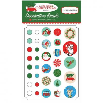 Carta Bella A Very Merry Christmas Decorative Brads Winter Embellishments