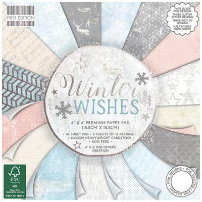First Edition Winter Wishes 6x6 Inch Paper Pad, 48 Blatt, 200gsm