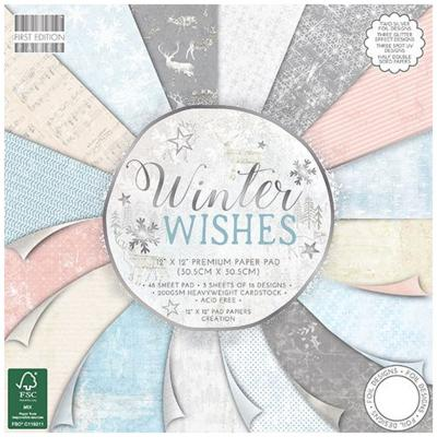 First Edition Winter Wishes 12x12 Inch Paper Pad, 48 Blatt, 200gsm