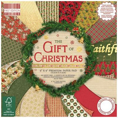 First Edition The Gift of Christmas 6x6 Inch Paper Pad, 48 Blatt, 200gsm