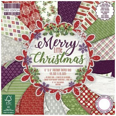 First Edition Merry Little Christmas 6x6 Inch Paper Pad, 48 Blatt, 200gsm