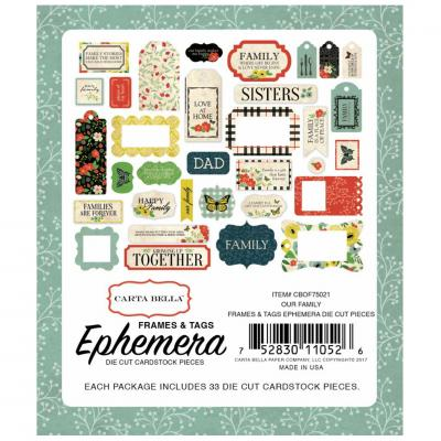 Carta Bella Our Family Ephemera Pack Frames & Tags Die-cut