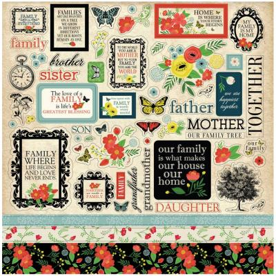 Carta Bella Our Family 12x12 Inch Element Stickerbogen