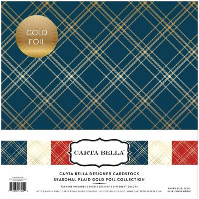 Carta Bella Seasonal Plaid 12x12'', 12 Bögen, Gold foliert
