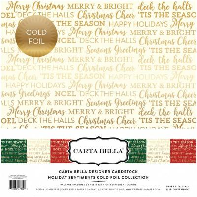 Carta Bella Holiday Sentiments 12x12'', 12 Bögen, Gold foliert