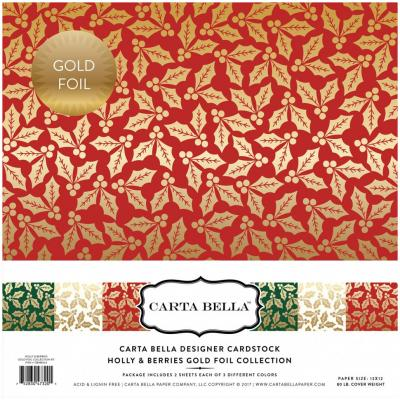 Carta Bella Hollies & Berries 12x12'', 12 Bögen, Gold foliert
