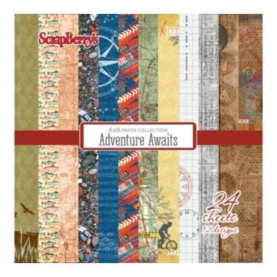ScrapBerry's Paper Collection Set 6x6 Inch Adventure Awaits (24 sheets,12 designs)
