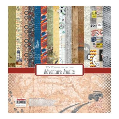 ScrapBerry's Paper Collection Set 12x12 Inch Adventure Awaits (16 sheets,16 designs)