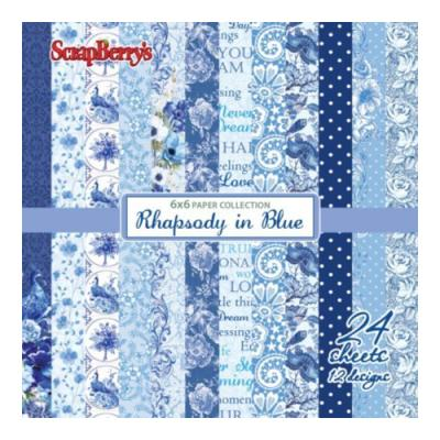 ScrapBerry's Paper Collection Set 6x6 Inch Rhapsody in Blue (24 sheets,12 designs)