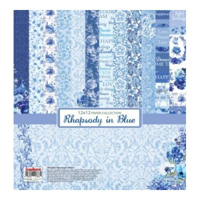 ScrapBerry's Paper Collection Set 12x12 Inch Rhapsody in Blue (8 sheets,14 designs)