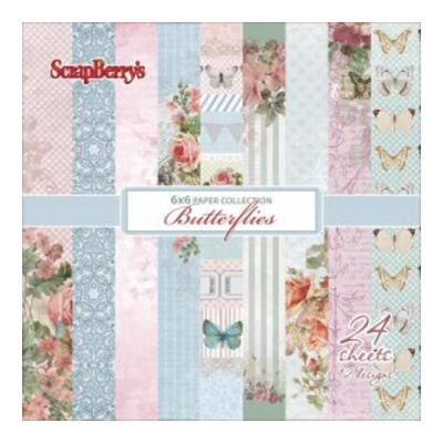 ScrapBerry's Paper Collection Set 6x6 Inch Butterflies (24 sheets,12 designs)