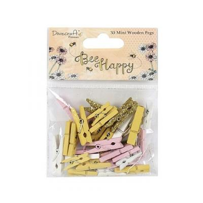 Dovecraft Bee Happy Mini Wooden Pegs (35pcs)