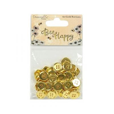 Dovecraft Bee Happy Gold Buttons (60pcs)