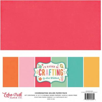 Echo Park I'd Rather Be Crafting 12x12 Inch Coordinating Solids Paper Pack