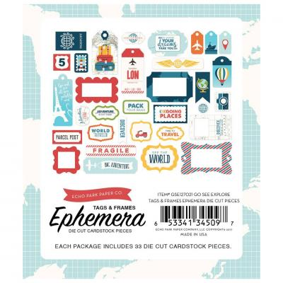 Go. See. Explore - Die-Cuts Frames & Tags Ephemera Pack
