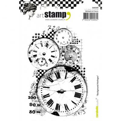 Carabelle cling stamp A6 background horloges Uhren