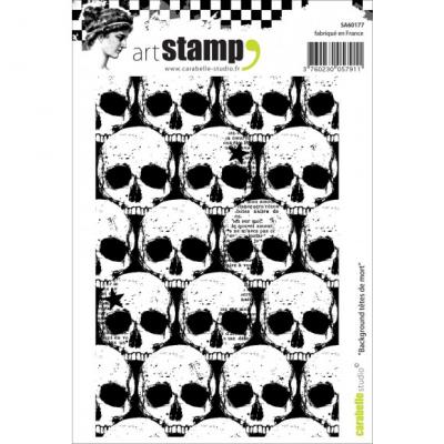 Schädel Carabelle stamp A6 background tetes de mort