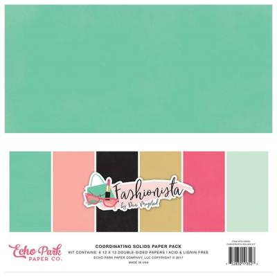 Cardstock Echo Park Fashionista 12x12 Inch Coordinating Solids Paper Pack