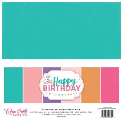 Echo Park Happy Birthday Girl 12x12 Inch Coordinating Solids Paper Pack