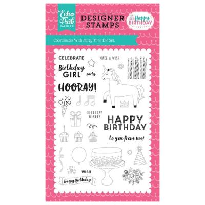 Echo Park Happy Birthday Girl Party Time Clear Stamps