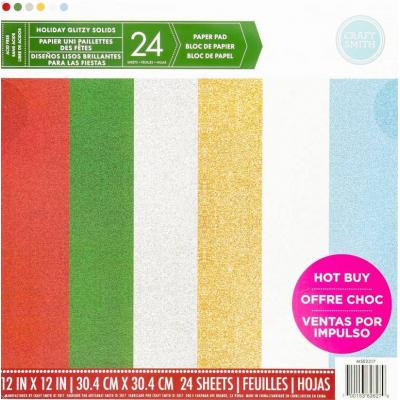 12x12 Inch Paper Pad Holiday Glitzy Solids