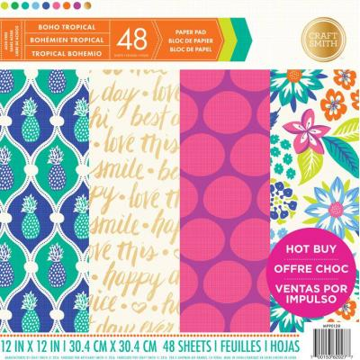 12x12 Inch Paper Pad Boho Tropical