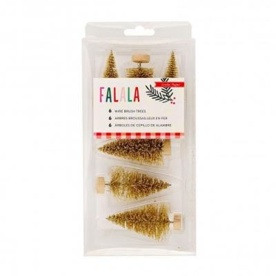 Crate Paper Falala Gold Wire Brush Trees 6Stück