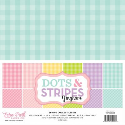 Echo Park Spring Gingham Dots & Stripes 12x12 inch
