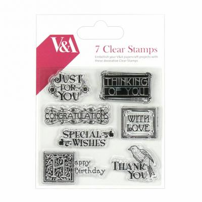 First Edition V&A Clear Stamp Sentiment Stamps