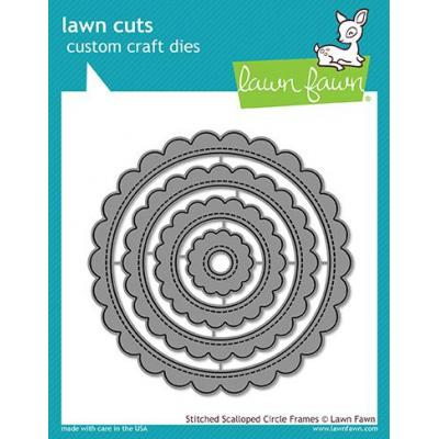 Lawn Cuts Stitched Scalloped Circle Frames