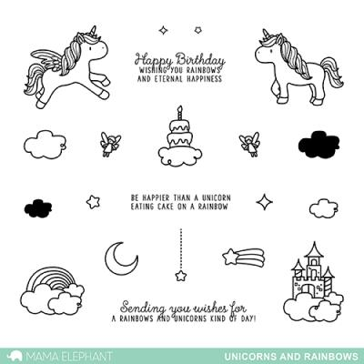 Mama Elephant Clear Stamps - Unicorns and Rainbows